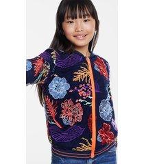 floral double layer jacket - blue - 11/12