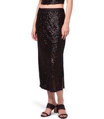 women's b.o.g. collective sharon sequin midi skirt, size medium - black