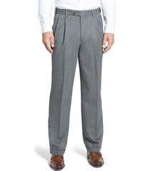 men's berle self sizer waist pleated classic fit wool gabardine dress pants, size 38 x unhemmed - grey