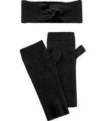fascia e guanti in misto cachemire (set 2 pezzi) (nero) - bpc bonprix collection