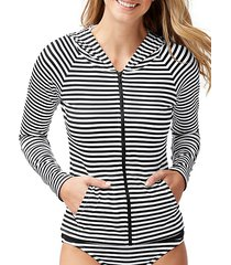 striped full-zip rashguard