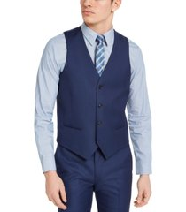 alfani men's slim-fit stretch blue solid suit vest, created for macy's