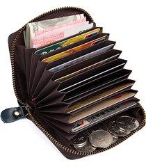 vera pelle rfid portafoglio porta carte con 11 slot per schede
