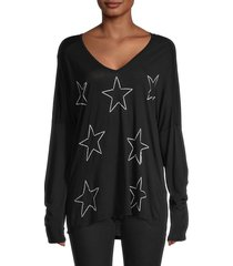 lauren moshi women's star-print top - black - size xs