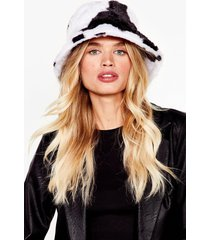 womens anything faux fur you dalmatian bucket hat - white