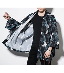 hombres estilo casual retro suelto animal dibujos animados yukata kimono capa superior cardigan