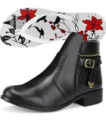 kit bota coturno sapatofran cano curto zíper feminina + chinelo sapatofran floral feminino