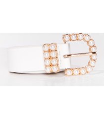 womens hot pearl summer faux leather belt - white
