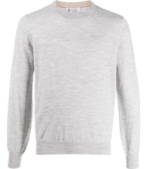 brunello cucinelli long sleeve relaxed fit pullover - grey