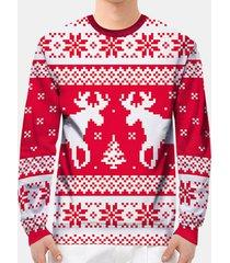 felpa a maniche lunghe stampata da uomo red deer di natale casual felpa da uomo casual fit sottile fit pullover