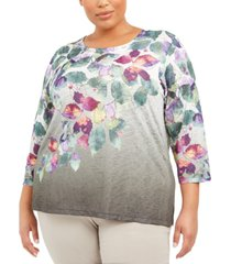 alfred dunner plus size loire valley fall leaves printed top