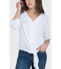 blusa ash lisa con nudo blanco - calce regular