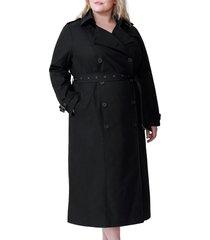 plus size women's universal standard tirsa water resistant trench coat, size l - black
