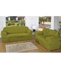 capa de sofá brastuca 2 peças 21 elásticos verde