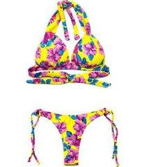 biquíni bahamas luasal poliamida floral bojo cortinão verão - feminino