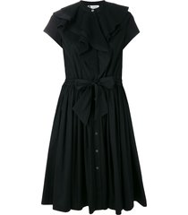 lanvin poplin ruffle dress - black