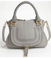 chloe medium marcie calfskin leather satchel - grey