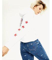 tommy hilfiger women's modern logo hoodie white - xs