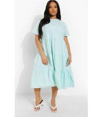 plus gingham print tiered midi smock dress, mint