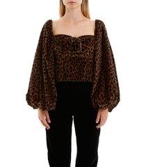 leopard-printed velvet top