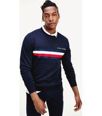 tommy hilfiger men's bold stripe sweatshirt desert sky - xxl
