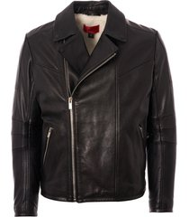 hugo lanster buffalo leather biker jacket - black 50394016