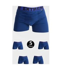 kit 5 cueca imi lingerie boxer em microfibra lisa estilo azul marinho