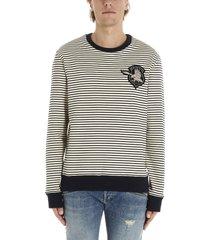 balmain badge stripes sweater