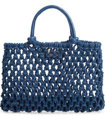 clare v. petite sandy woven net handbag - blue