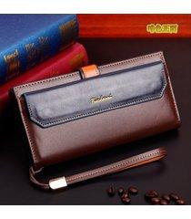 billetera, bolso largo de la cremallera de la-marrón