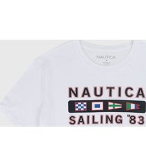 camiseta blanco-negro-rojo nautica