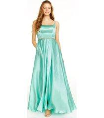 blondie nites juniors' rhinestone-trim a-line gown
