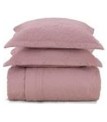 cobre leito casal karsten com 2 porta travesseiros 180 fios percal liss rosa