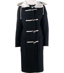 jil sander hooded duffle coat - blue