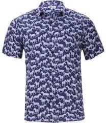 camisa estampada zebras color azul, talla l
