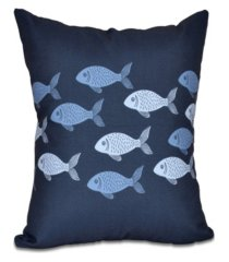fish line 16 inch blue and navy blue decorative coastal throw pillow