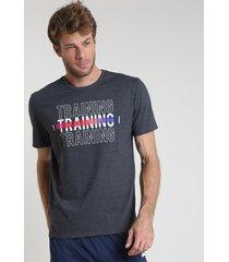 "camiseta masculina esportiva ace ""training"" manga curta gola careca chumbo"