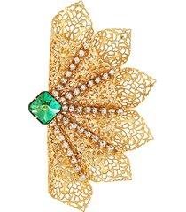 class crystal filigree brooch