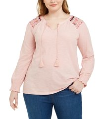 style & co plus size cotton lace-trim peasant top, created for macy's