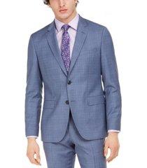 hugo hugo boss men's modern-fit blue plaid suit separate jacket