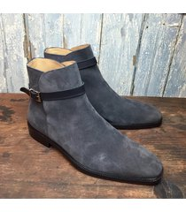 handmade men gray boots, suede jodhpur boots for men, men dress formal boots