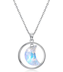 collana in argento 925 con zirconi brillanti ciondola le collane con ciondoli a forma di luna per le donne
