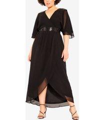 city chic women's trendy plus size sequin wrap maxi dress