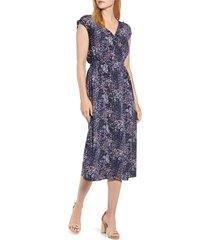 women's bobeau danielle surplice dress, size medium - blue