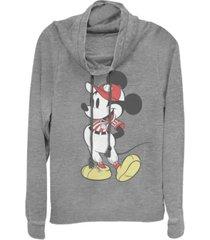 fifth sun women's disney mickey classic baseball season mick fleece cowl neck sweatshirt