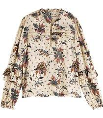 blouse ruffle gebroken wit