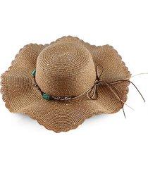 beach wavy brim sequins rope straw hat