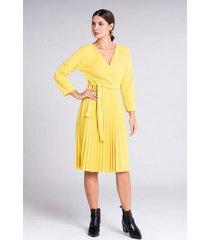 vestido corto plisado color sólido