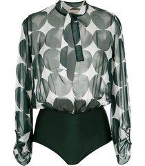 adriana degreas printed silk bodysuit - green