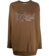 fendi karligraphy logo sweatshirt - brown
